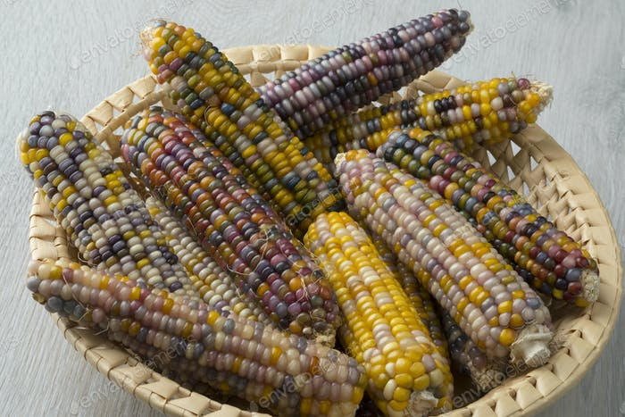 Basket with colorful gem glass corn on cob