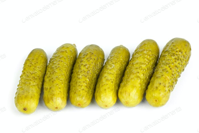 Six marinated  gherkins