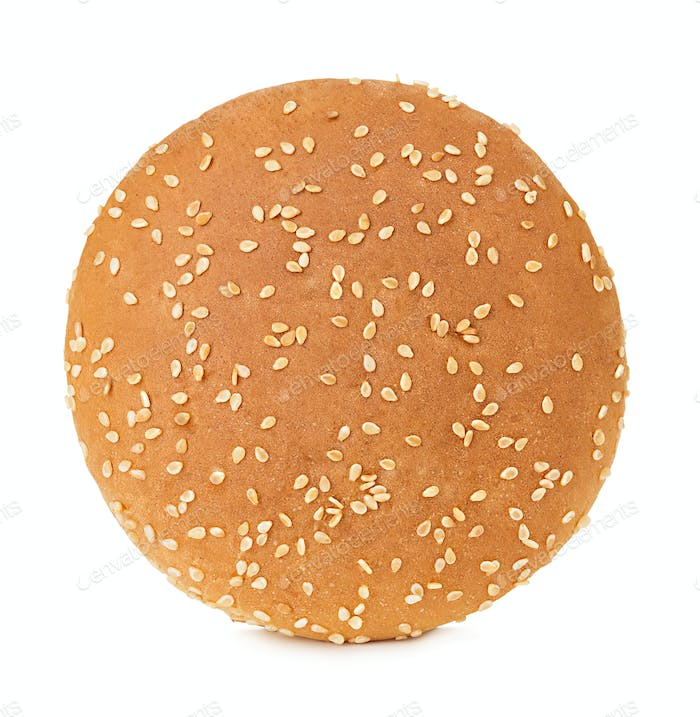 Burger bun with sesame seeds isolated on white background with clipping path.