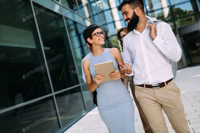 Picture of handsome businessman and beautiful businesswoman