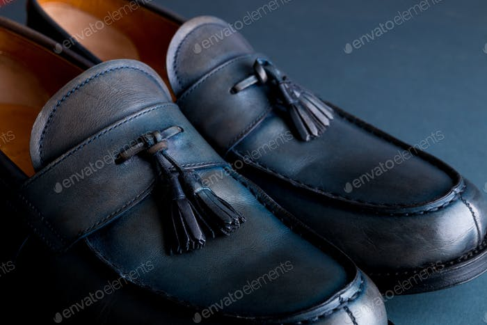 Blue loafer shoes on blue background