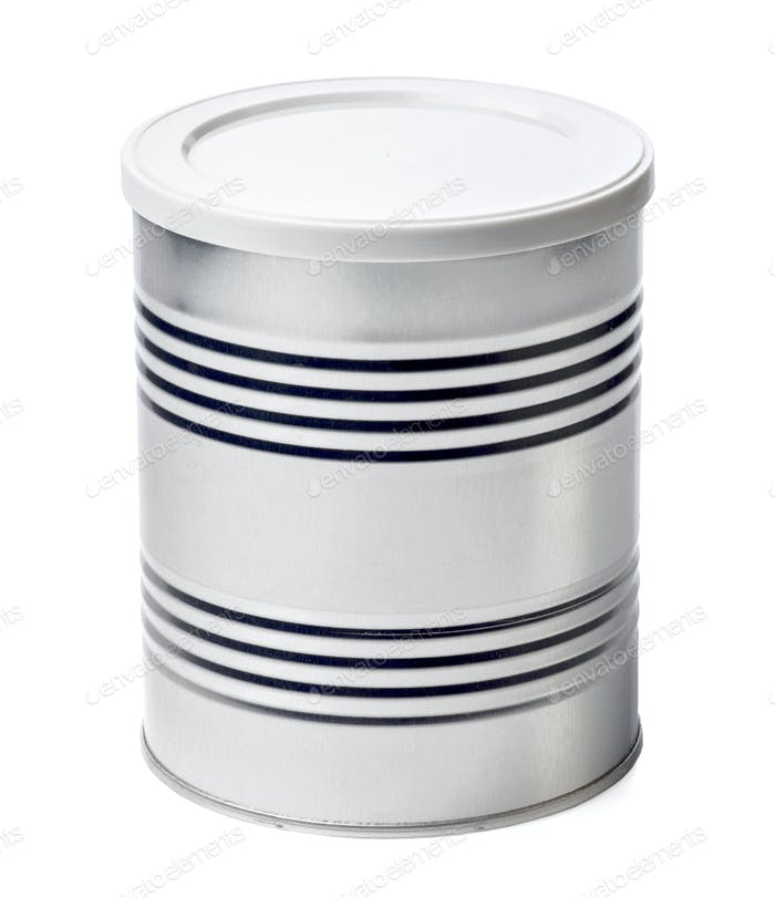 Metal container on white background