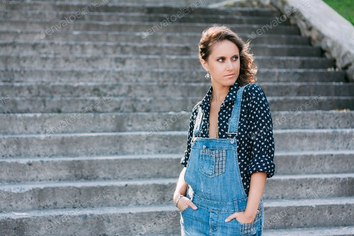 Beautiful Portrait Of Pretty Young Caucasian Woman Wear In Denim