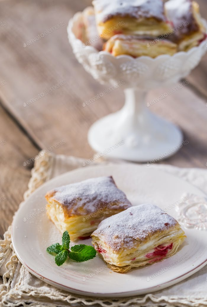 Mille-feuille with fresh cherry