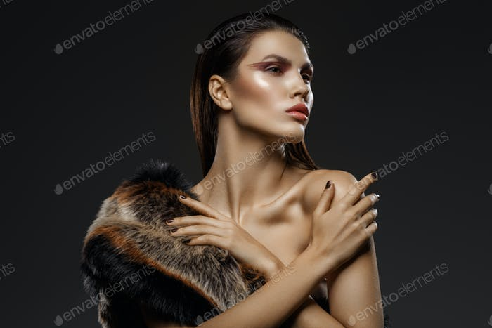 girl in fur scarf