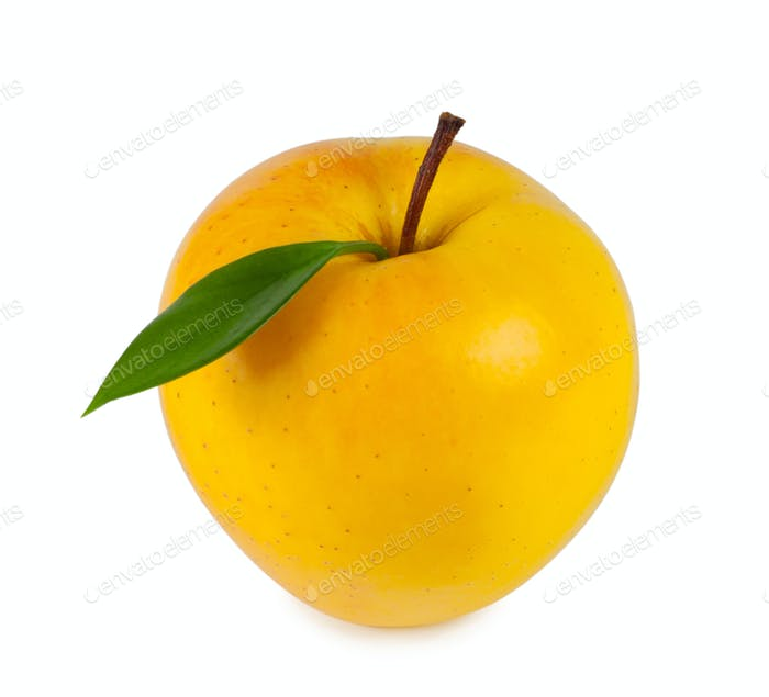 yellow ripe apple with leaf