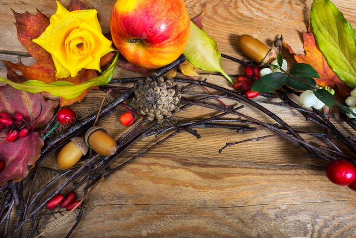 Thanksgiving wreath with apple, cones, berries, acorns