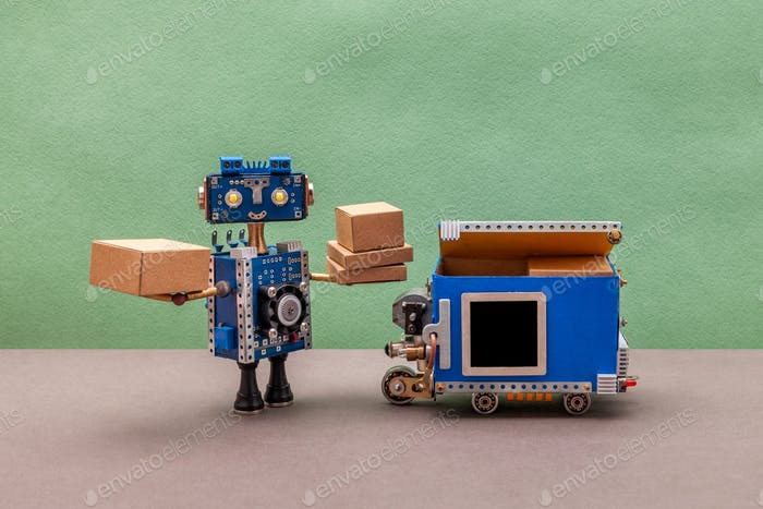 Yellow eyed robotics character received parcel boxes