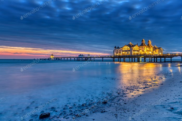 Dawn at the beautiful sea pier of Sellin