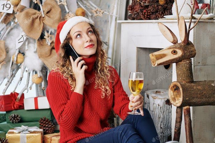 Woman talking on phone on New Years night