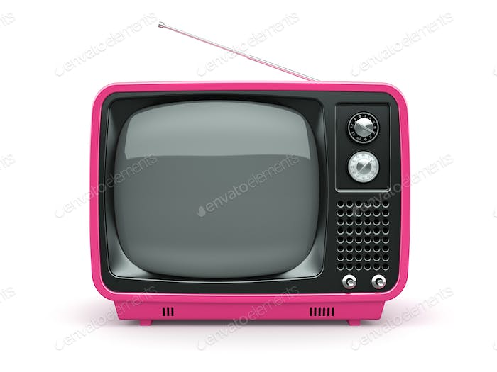Pink retro TV on white background