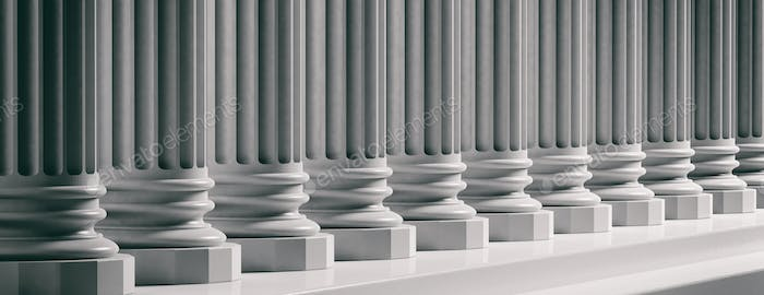 Court facade. Marble classical pillars background. 3d illustration