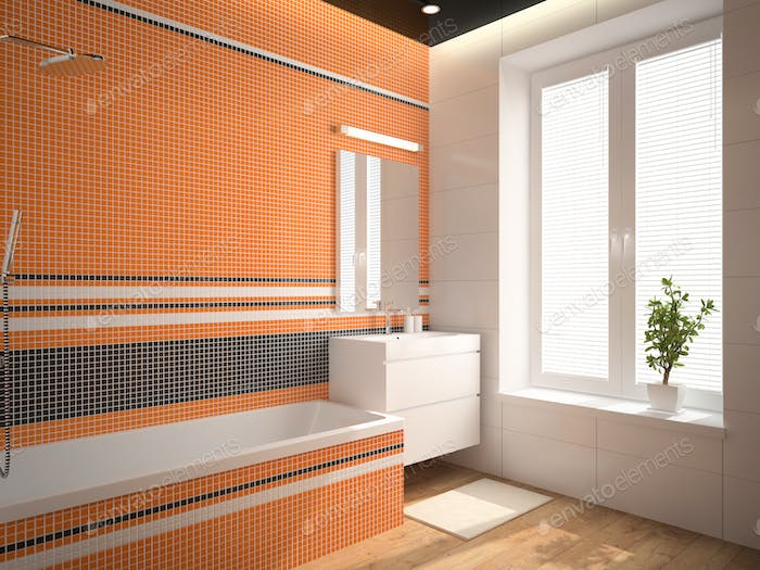 Interior of the bathroom with orange wall 3D rendering 3
