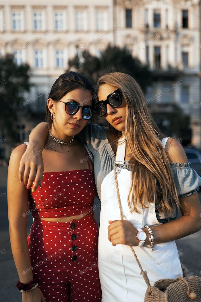 Young female friends spending good time together