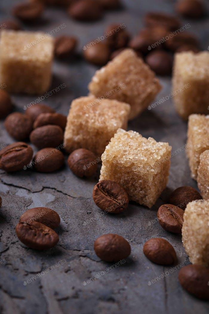 Brown cane sugar and coffee beans