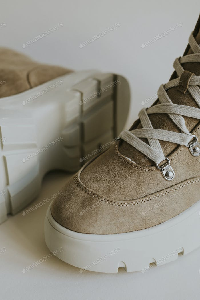 Beige suede sneakers unisex shoes