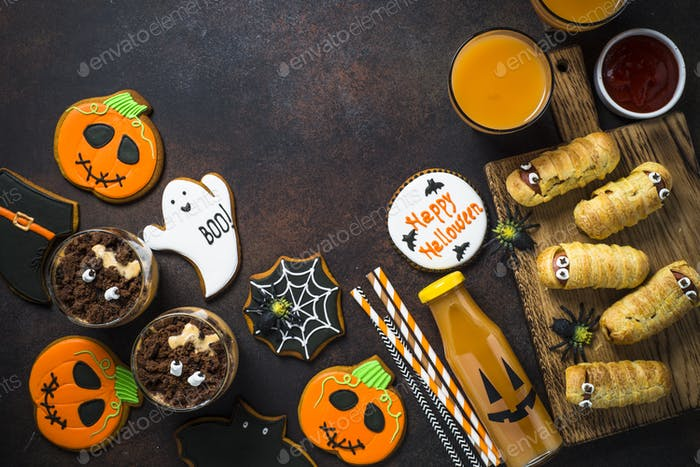 Halloween food assortment top view