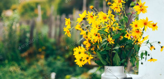 Wild yellow flowers in a vase, bouquet on street