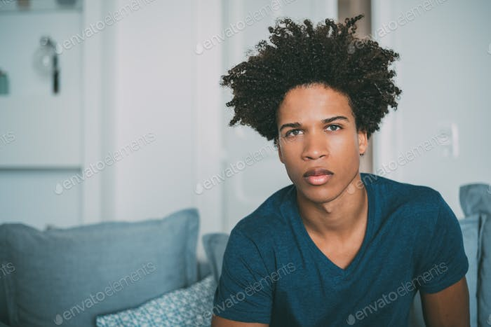 Portrait of a young thoughtful mixed race man sitting in the sof