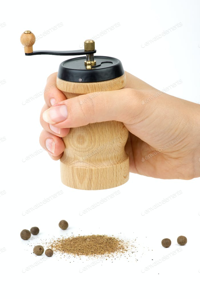 Wooden spice handmill in hand and allspice