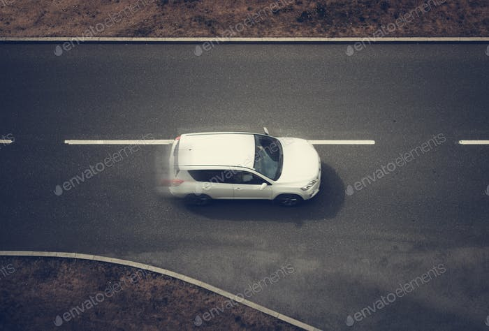 Speeding Car Top View