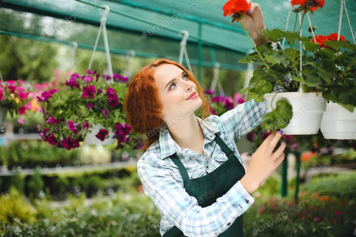 Beautiful redhead florist in apron working with flowers. Young s