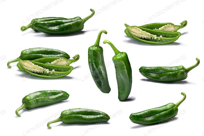 Set of whole and sliced Anaheim peppers, paths