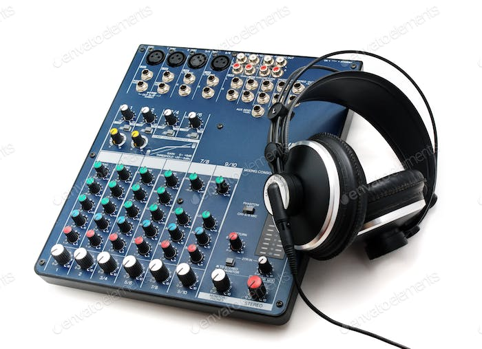 Mixing console and headphones