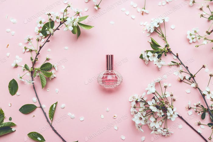 Perfume jar with apricot blossom