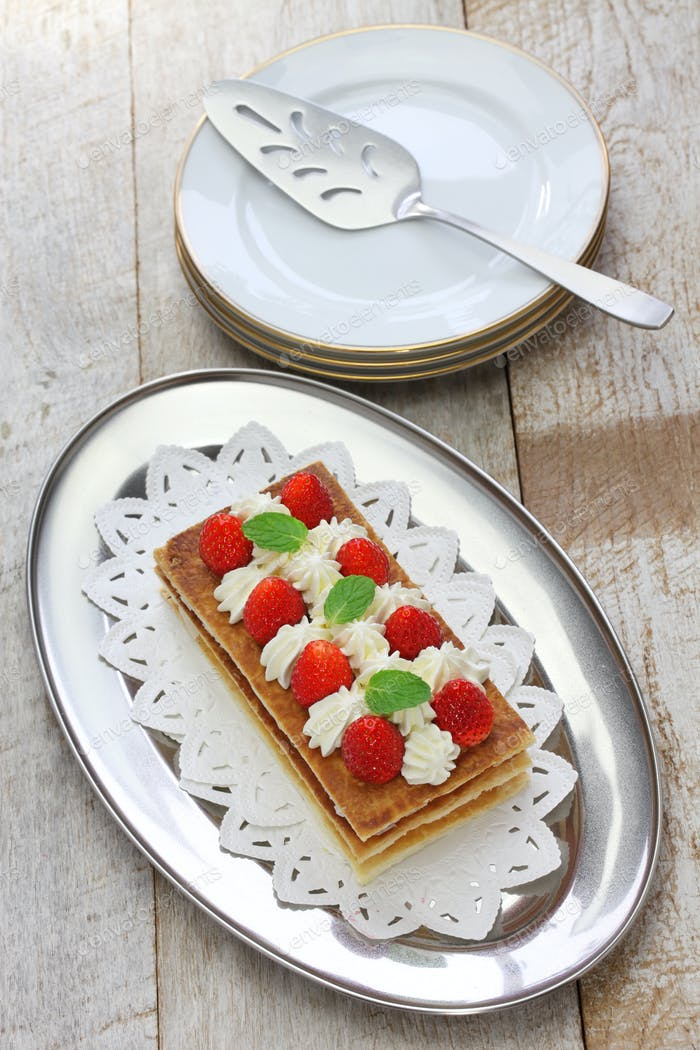 strawberry mille feuille, French pastry
