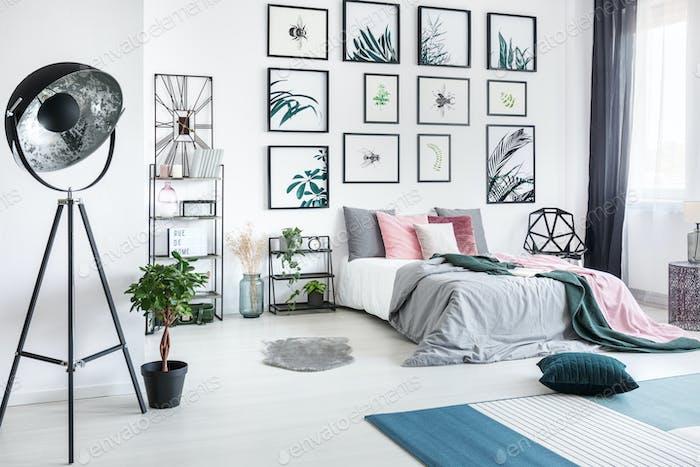 Designer metal lamp in bedroom