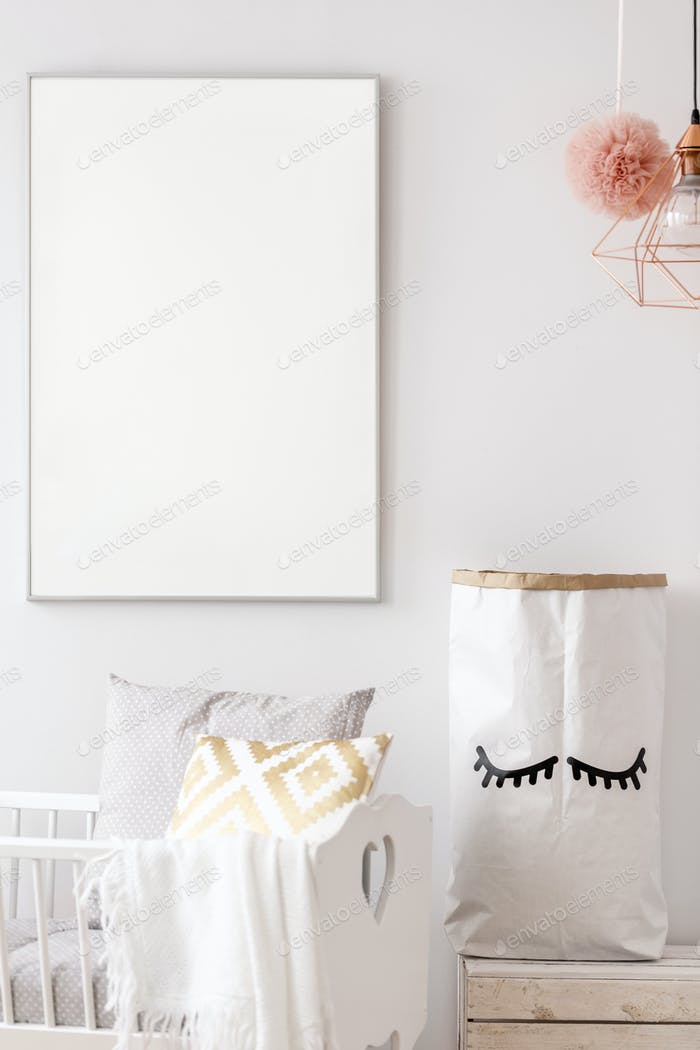 Baby nursery white poster mockup