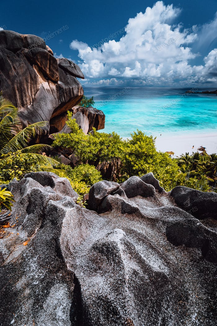 Natural viewpoint to beautiful impressive Grand Anse beach on La Digue island in Seychelles. Amazing