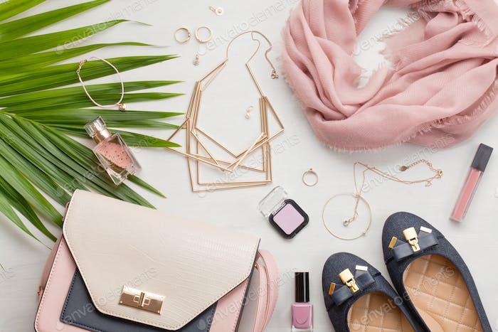 Fashion female accessories, urban style concept