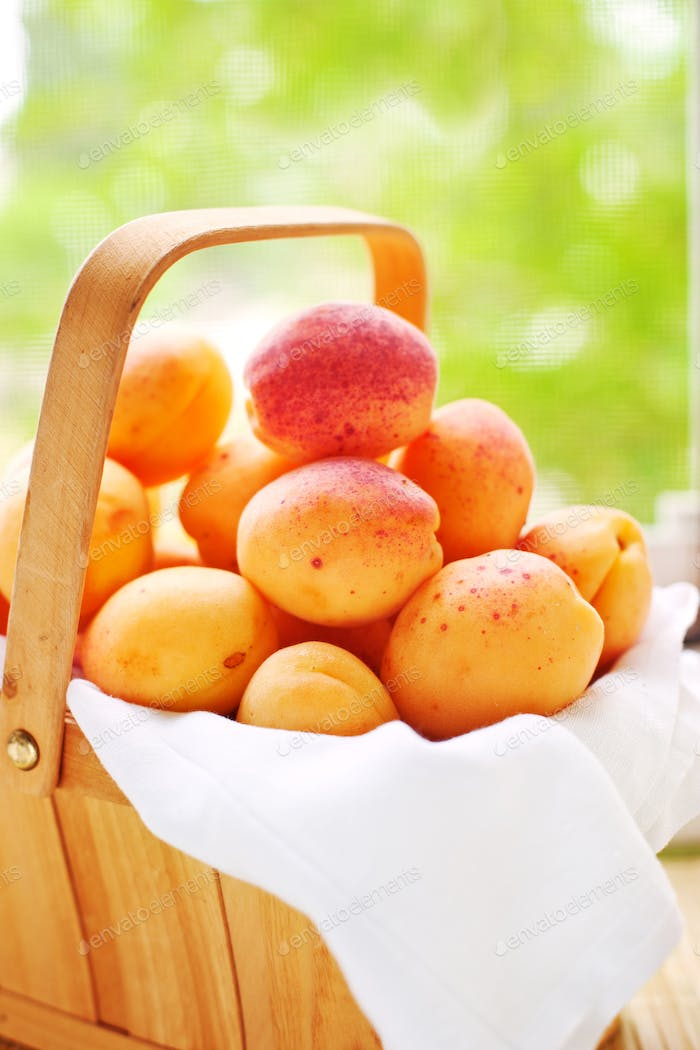 Basket with juicy fruits