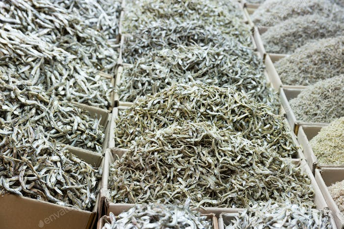 Dried assorted small white fish