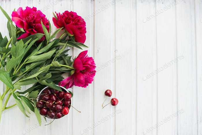 cherries and peony