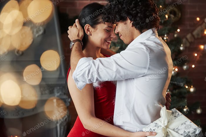 New Year's evening dancing. Lovely gorgeous couple spending time together