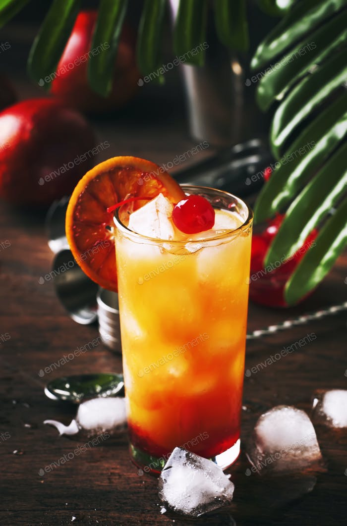 Classic tequila sunrise cocktail