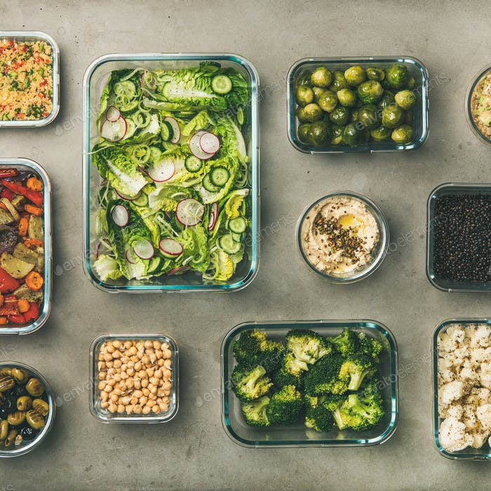 Healthy vegan or vegetarian dishes in containers, square crop