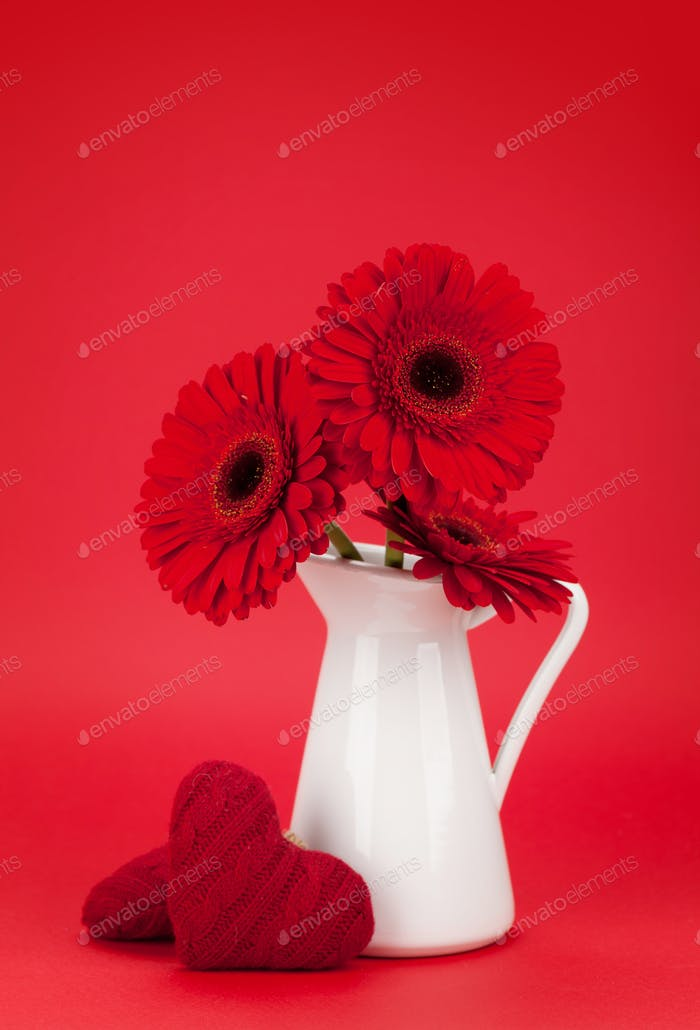 Valentines day card with gerbera flower bouquet