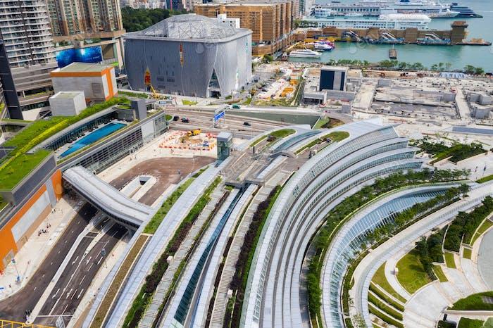 Kowloon East, Hong Kong 09 May 2019: Drone fly over Hong Kong West Kowloon railway station