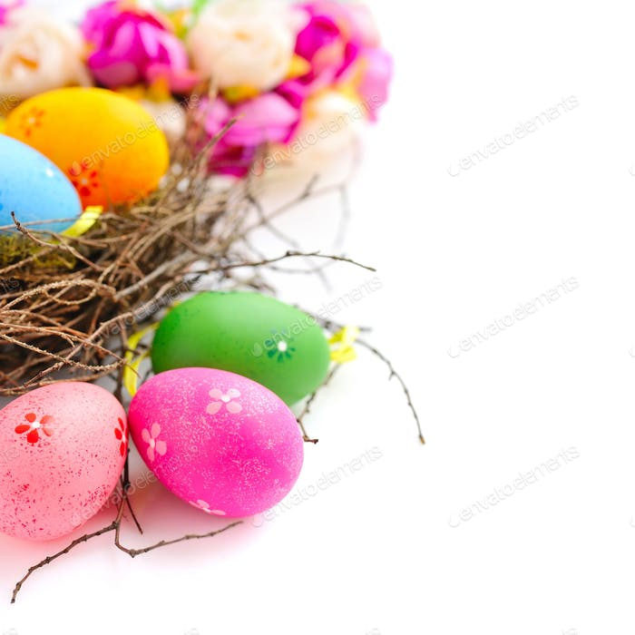 Thumbnail for Colorful easter eggs in nest on a white background