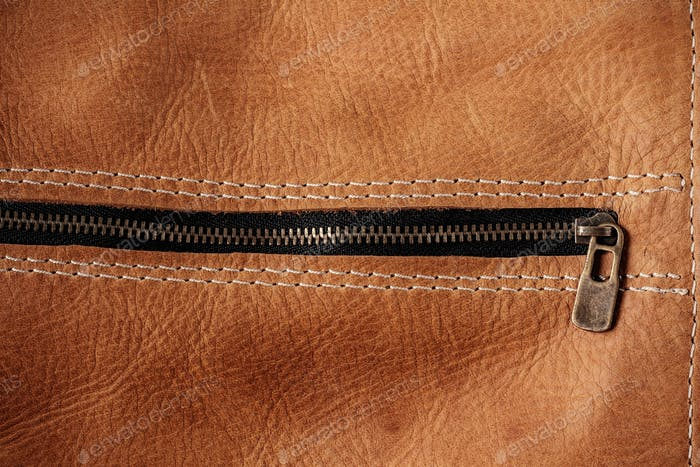 surface of leather and zipper