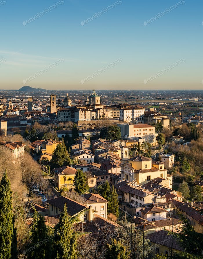 View over Citta Alta or Old Town buildings in the ancient city of Bergamo, Lombardia, Italy