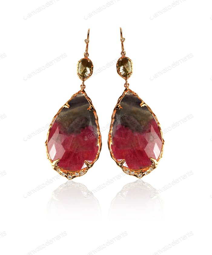 Red brown and green carnelian gemstone earrings