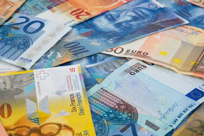 EURO and CHF banknotes as background