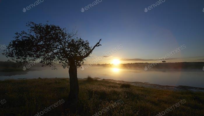 Spanische Landschaft bei Sonnenaufgang
