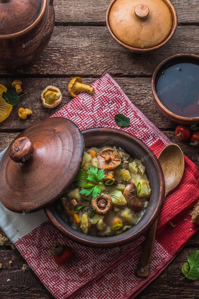 Vegeterian potato and mushrooms stew in a clay pot, copy space