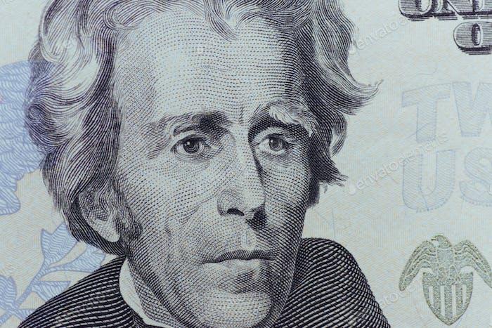 US-Präsident Jackson Gesicht auf zwanzig oder 20 Dollar Rechnung